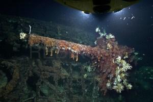 Restos del submarino nazi U-581.