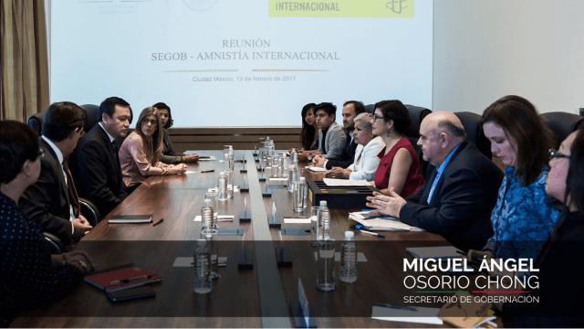 En el encuentro se habló del trabajo que Amnistía Internacional realiza en materia de protección a personas migrantes y refugiadas (Segob)