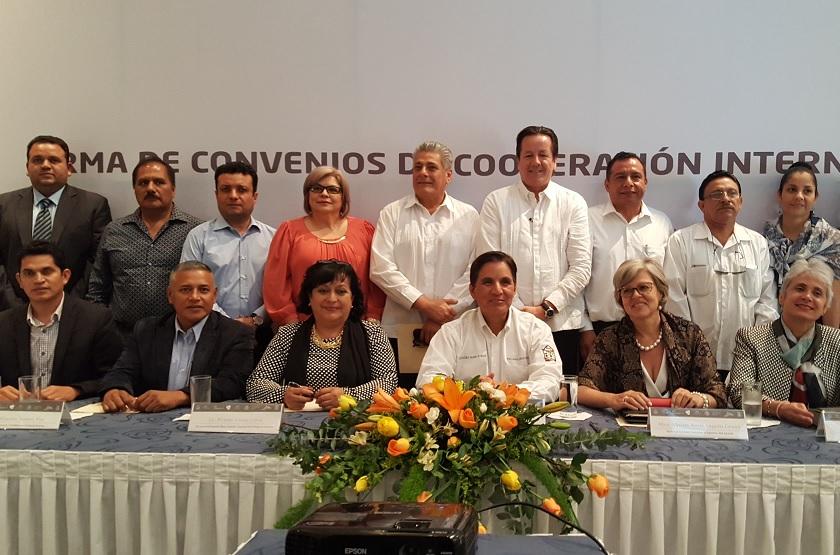 Imagen de la firma de convenio de Colaboración Internacional TecNM- Escuela Colombiana de Ingeniería Julio Garavito (Foto SEP)