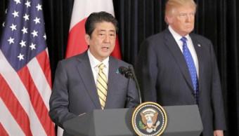 Shinzo Abe, primer ministro de Japón, durante su visita de trabajo a Estados Unidos y tras su reunión con Donald Trump. (Getty Images)