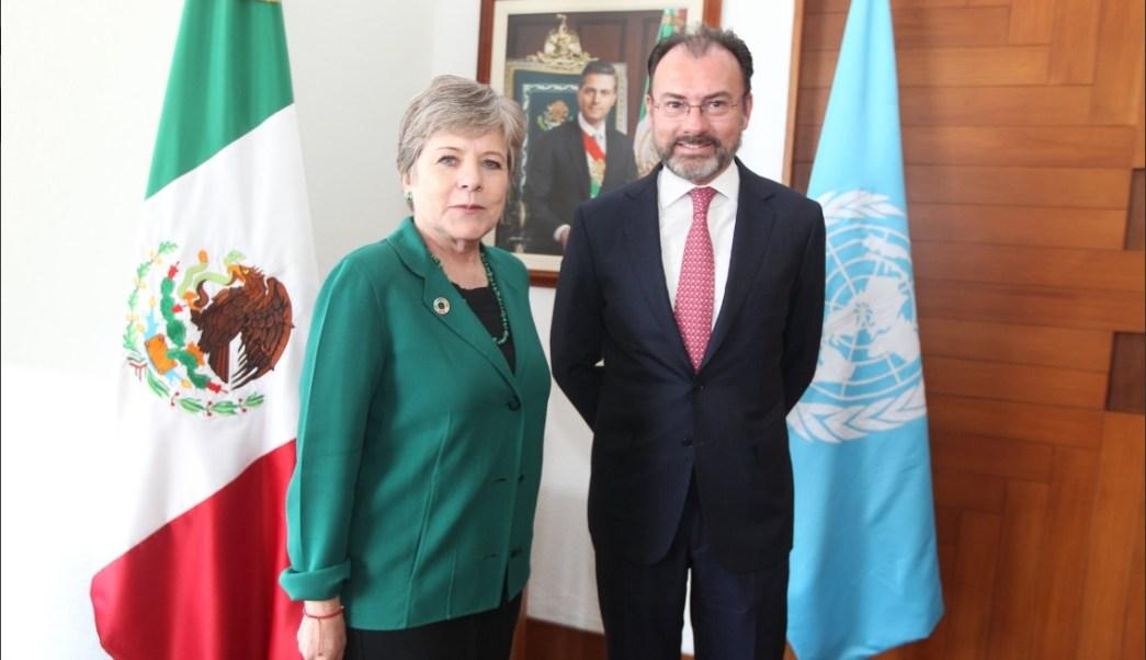 Luis Videgaray, secretario de Relaciones Exteriores, se reúne con Alicia Bárcena, secretaría ejecutiva de la Cepal, para analizar los temas de su agenda (Twitter @SRE_mx)