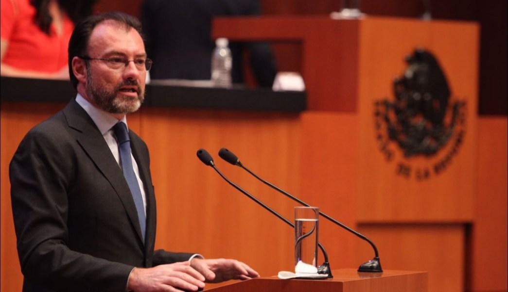 Luis Videgaray, secretario de Relaciones Exteriores, comparece ante el Senado de la República (Twitter @SRE_mx)