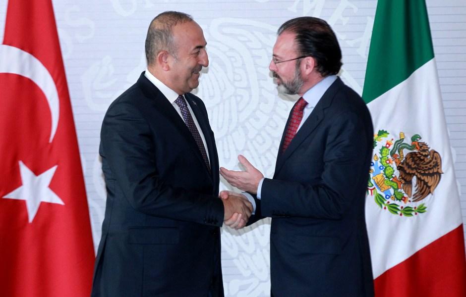 El canciller mexicano Luis Videgaray ofreció un mensaje conjunto con el primer ministro de asuntos exteriores de Turquía Mevlut Cavusoglu (Notimex)