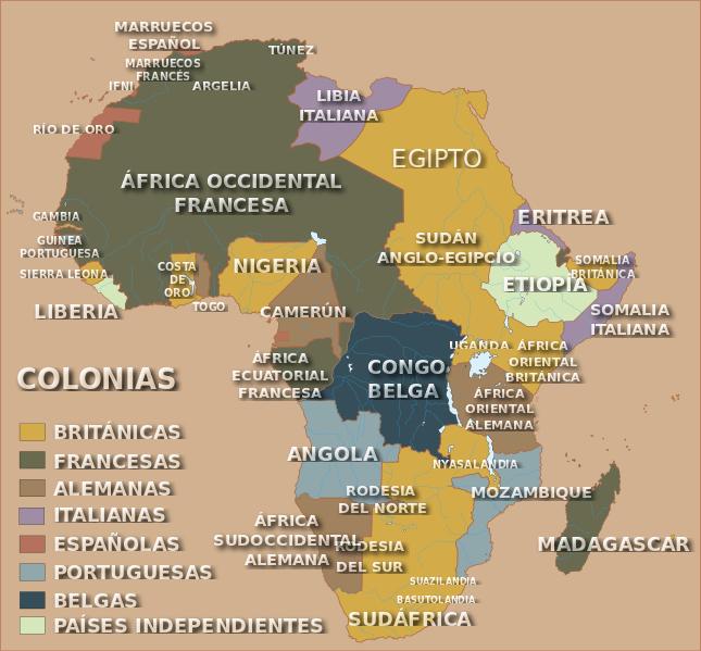 Divisón política colonial de África después de la Conferencia de Berlín y antes del fin de la Primera Guerra Mundial
