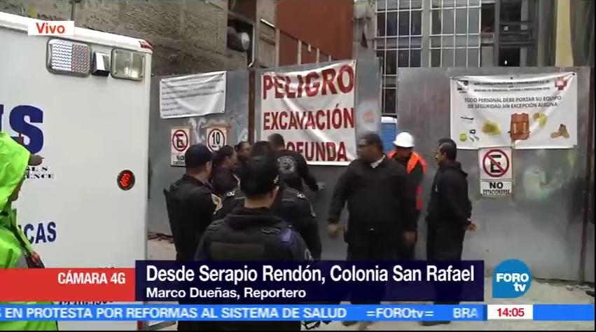 Derrumbe de una construcción en la calle de Serapio Rendón, en la colonia San Rafael. (FOROtv)