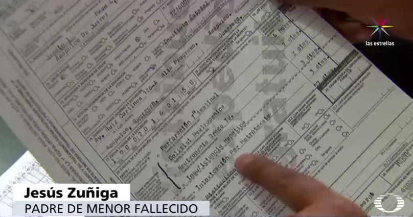 Acta de defunción de menor que recibió quimioterapia con methotrexate en Guerrero (Noticieros Televisa)
