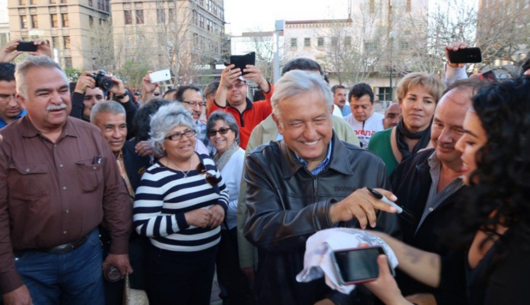Andrés Manuel López Obrador, presidente de Morena, visita El Paso, Texas.
