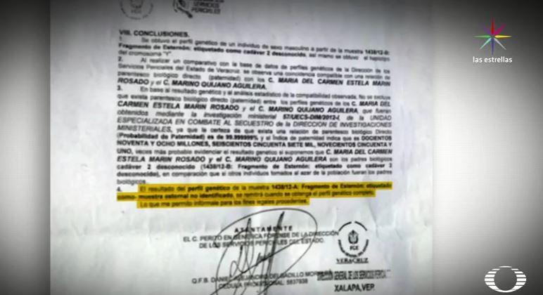 Documento que muestra coincidencia genética del cuerpo del esposos de Minerva Espinosa  (Noticieros Televisa)