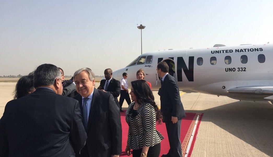Antonio Guterres aterrizó en Bagdad para centrarse en la penosa situación humanitaria. (Twitter: @antonioguterres)