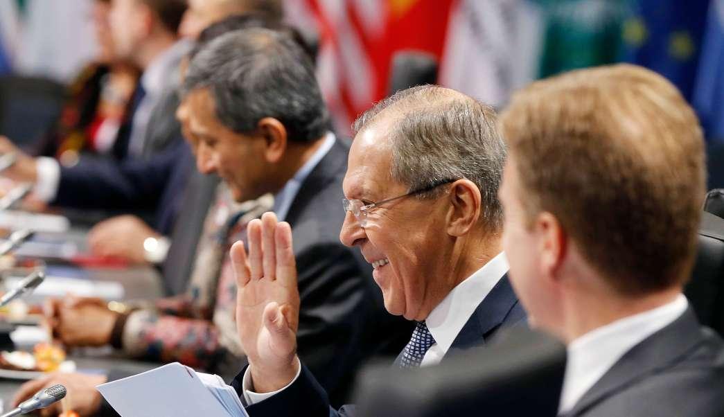 El ministro de Relaciones Exteriores de Rusia, Serguéi Lavrov, durante una sesión de trabajo en el segundo día de la reunión de Ministros de Relaciones Exteriores del G-20 en Bonn, Alemania (AP)