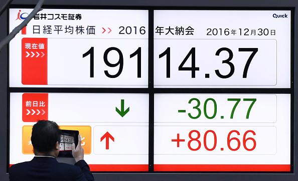 Tablero de la Bolsa de Tokio. (Getty Images, archivo)