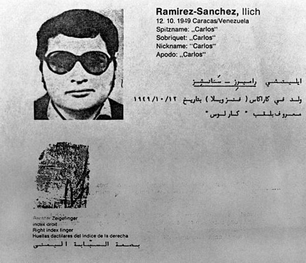 """Ilich Ramírez Sánchez, más conocido como """"Carlos"""". El 16 de agosto de 1994 fue detenido en Jartum, Sudán, y entregado a Francia por el atentado del 22 de abril de 1982 en la rue Marbeuf (Getty Images)"""