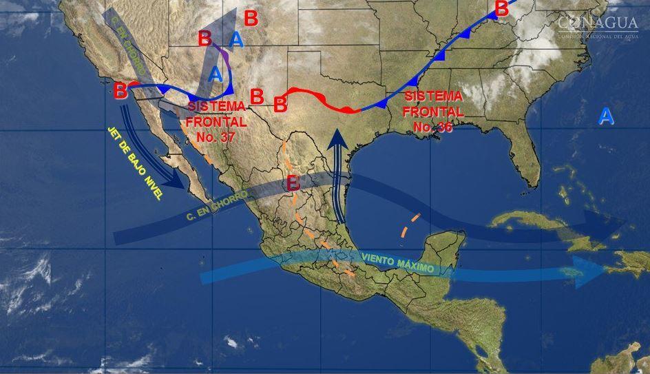 Mapa con el pronóstico del clima para este 28 de marzo; frente frío 37 generará vientos fuertes en el norte y noroeste de México. (SMN)