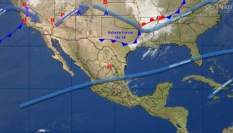 Mapa con el pronóstico del clima para este 27 de marzo; frente frío 36 provocará vientos fuertes. (SMN)
