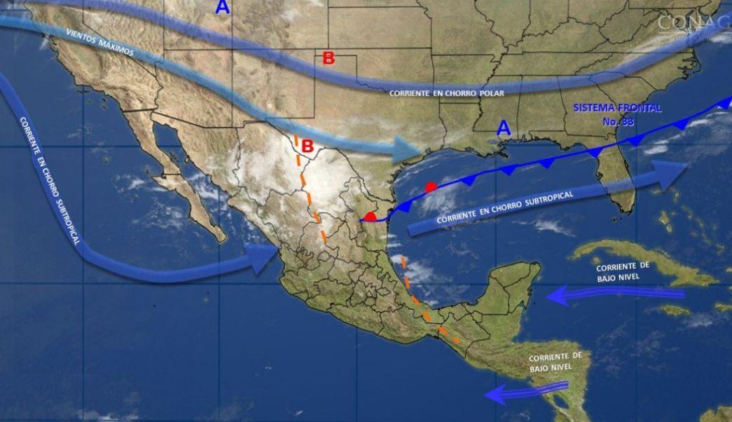 Mapa con el pronóstico del clima para este 9 de marzo; frente frío 33 provocará vientos fuertes en Coahuila, Nuevo León y Tamaulipas. (SMN)