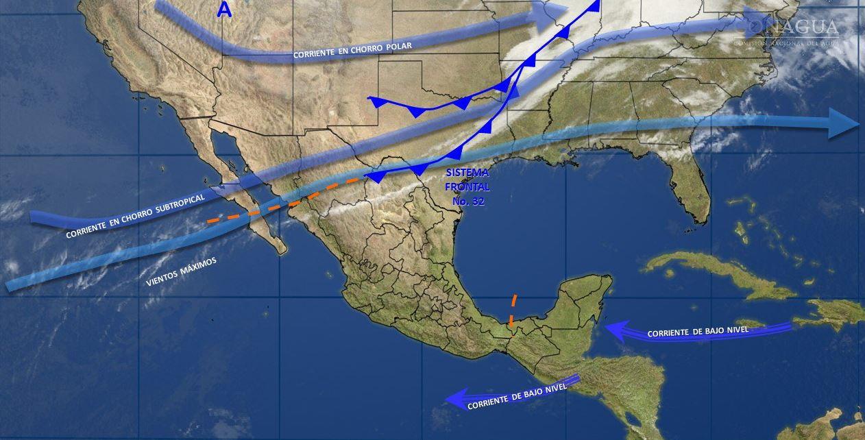 Mapa con el pronóstico del clima para este 1 de marzo; prevalece el ambiente caluroso en gran parte del país. (SMN)