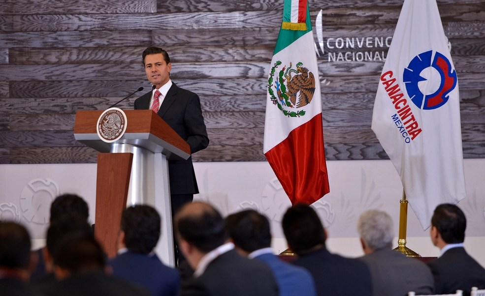 El presidente Enrique Peña Nieto participó en la convención nacional de la Canacintra. (Presidencia de la República)