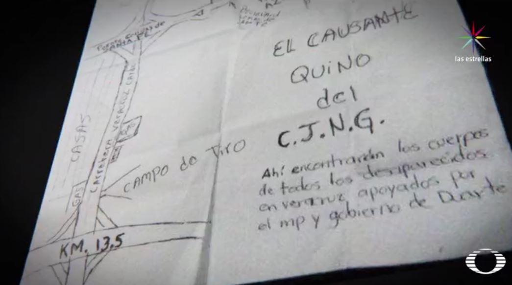 El 10 de mayo, durante una manifestación del Colectivo Solecito de Veracruz, los integrantes recibieron de manera anónima un mapa del terreno donde el crimen organizado había enterrado a sus víctimas; se trata del lugar donde hasta el momento han sido encontrados 249 cráneos. (Noticieros Televisa)