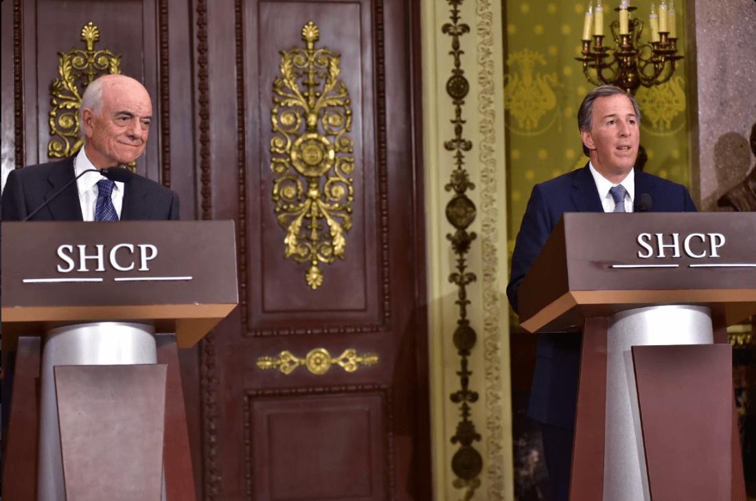 Francisco González, presidente del BBVA Bancomer, y José Antonio Meade, secretario de Hacienda. (@JoseAMeadeK)