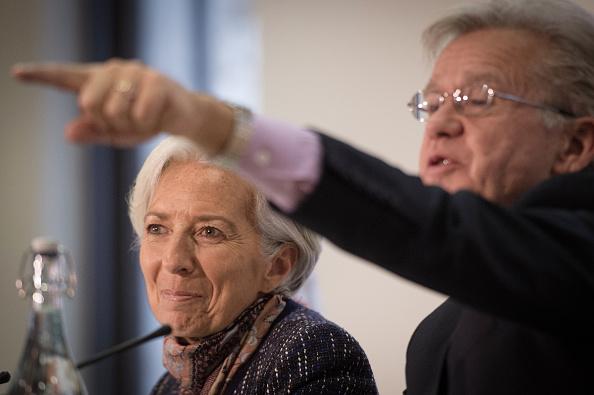 Christine Lagarde, directora gerente del FMI, y Gerry Rice, portavoz de la misma institución. (Getty Images)