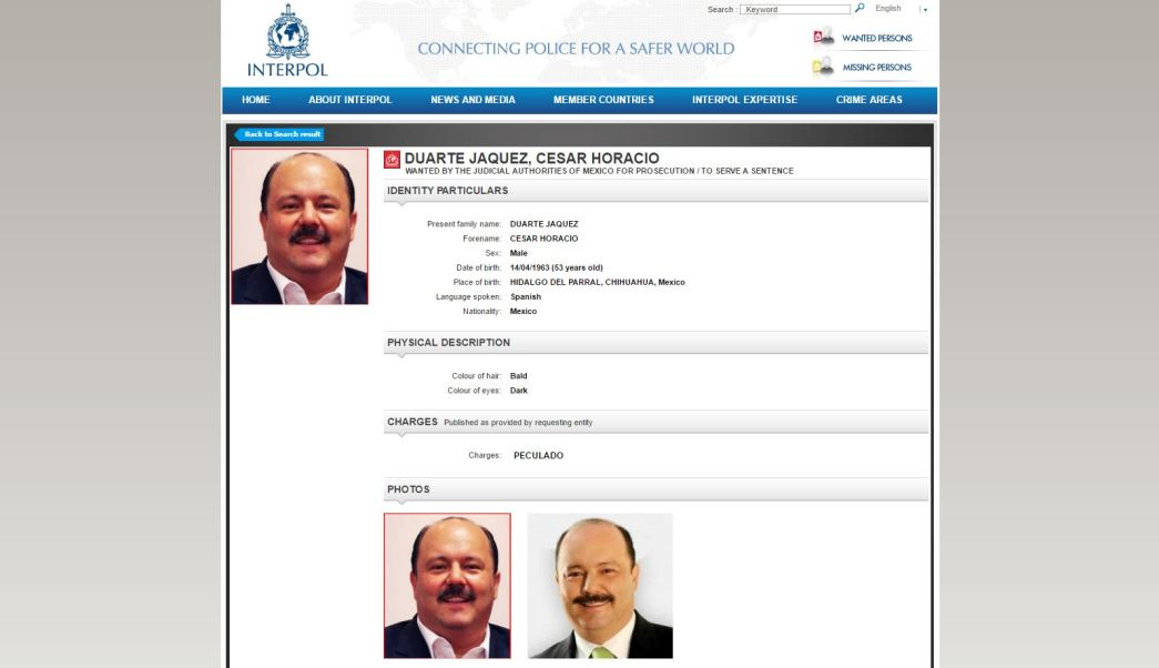 Interpol emite ficha roja contra exgobernador de Chihuahua, César Duarte. (Interpol)