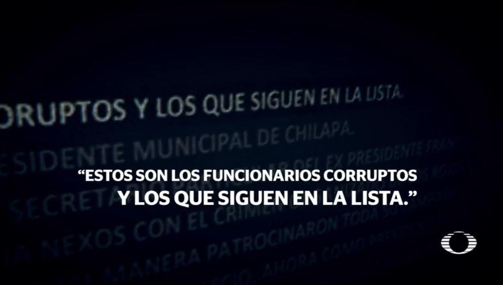 El nombre del alcalde de Chilapa, Guerrero, Jesús Parra García, está en una de las listas junto con el de otros cinco trabajadores municipales. (Noticieros Televisa)