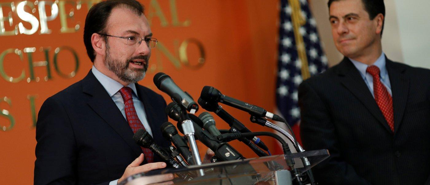 Luis Videgaray, canciller de México, durante una conferencia de prensa.