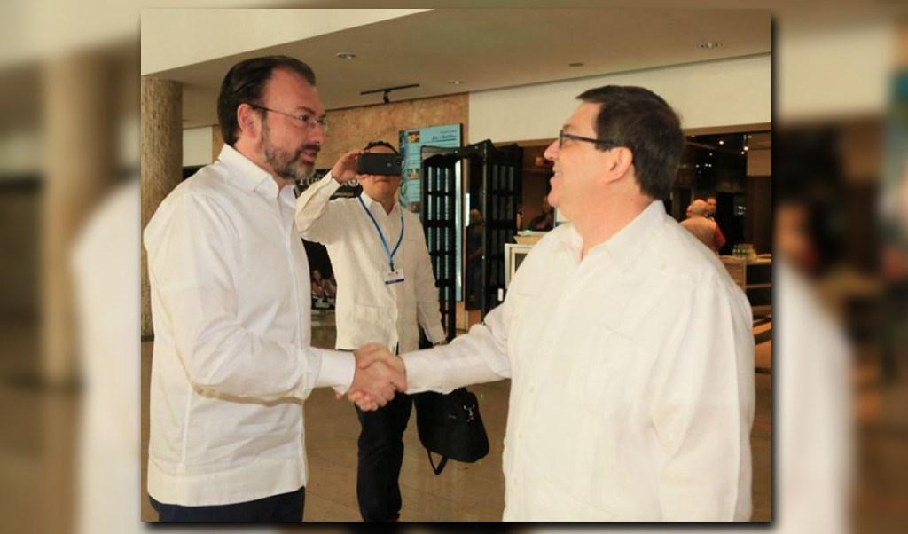 Luis Videgaray, canciller de México, se reúne con su homólogo cubano, Bruno Rodríguez en La Habana (Twitter @SRE_mx)