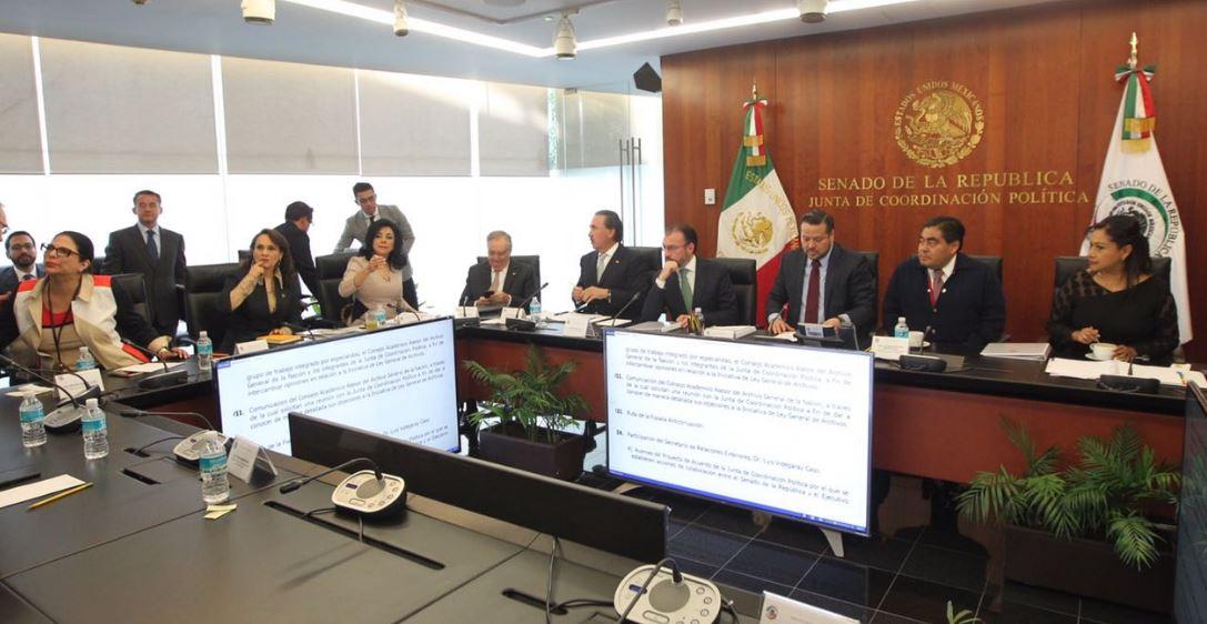Luis Videgaray se reúne con senadores (Twitter @SRE_mx)