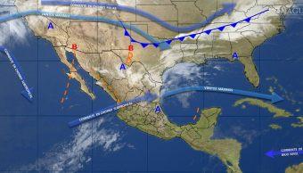 Mapa con el pronóstico del clima para este 10 de marzo; prevén lluvias con caída de granizo en gran parte de México. (SMN)
