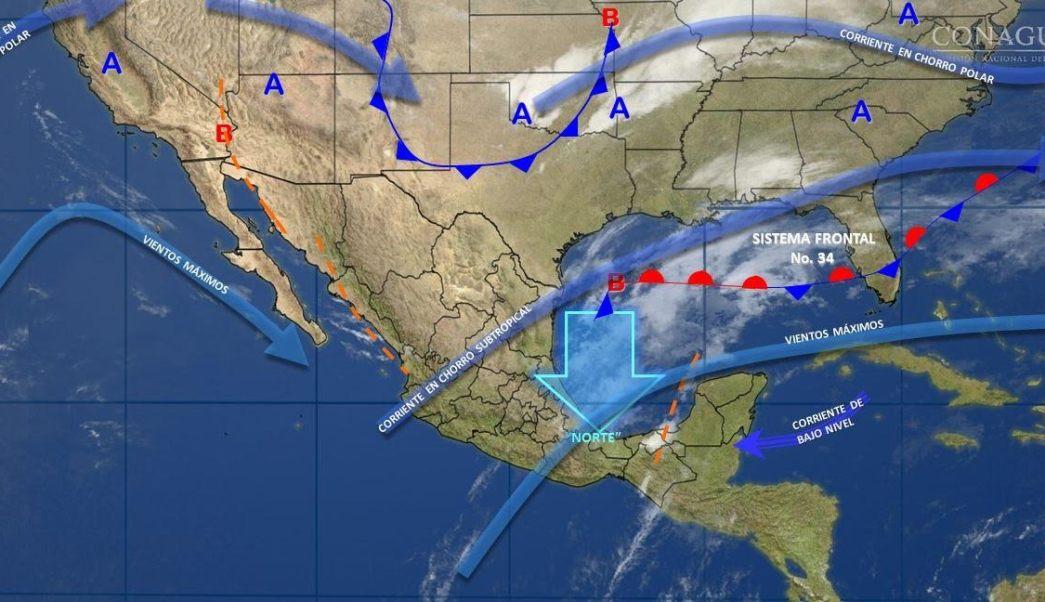 Mapa con el pronóstico del clima para este 13 de marzo; frente frío 34 provoca ambiente frío en gran parte del país. (SMN)