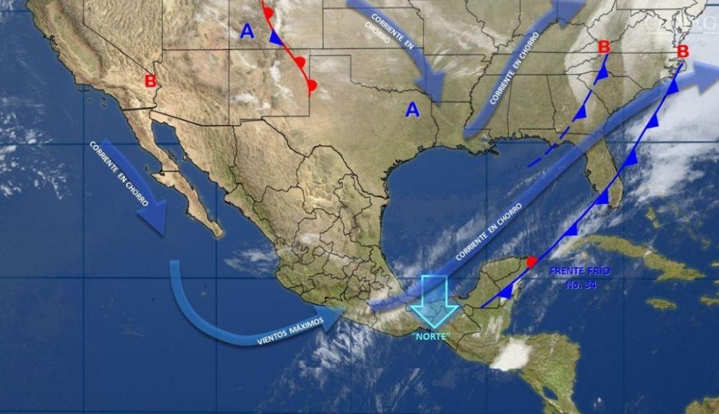 Mapa con el pronóstico del clima para este 14 de marzo; frente frío 34 provoca bajas temperaturas. (SMN)