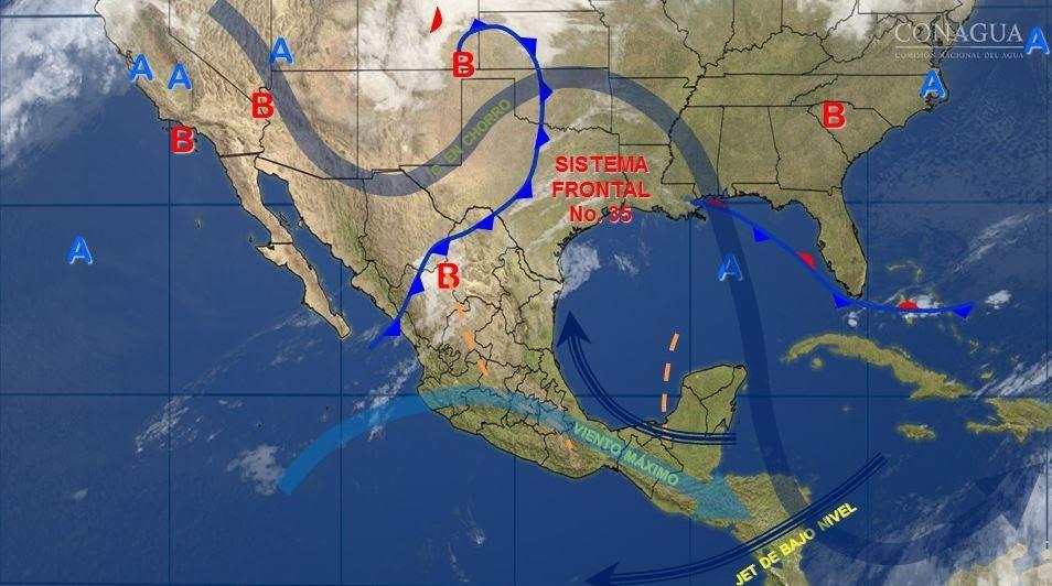 Mapa con el pronóstico del clima para este 24 de marzo; vientos del frente frío 35 podrían formar torbellinos. (SMN)
