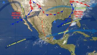 Mapa con el pronóstico del clima para este 31 de marzo; frente frío 37 provocará lluvias en el oriente y sureste de México. (SMN)