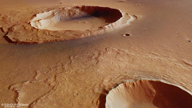 Agencia Espacial Europea ofreció fotografías de los efectos de una mega-inundación en Marte, en la que se pueden apreciar varios impactos de meteoritos. (Twitter/@esa_es)