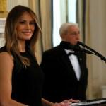 La primera dama estadounidense, Melania Trump, durante un almuerzo del Día Internacional de la Mujer en la Casa Blanca, en Washington (Reuters)