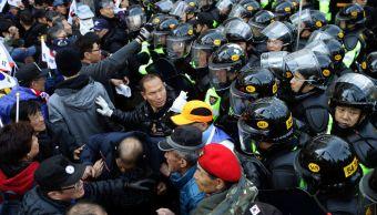 Miles protestaron en las calles de Seúl, Corea del Sur.
