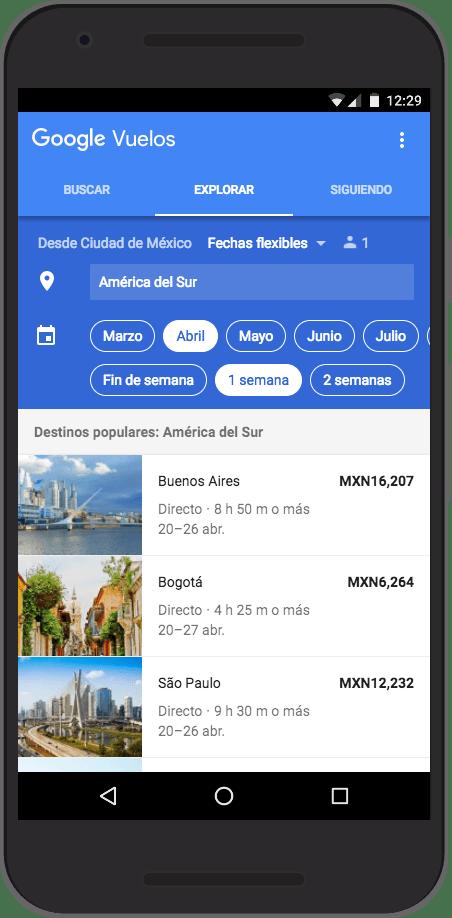 """En Google Flights selecciona """"Explorar"""" para encontrar ideas basadas en el tipo de vacaciones que estás buscando. (Google Flights )"""