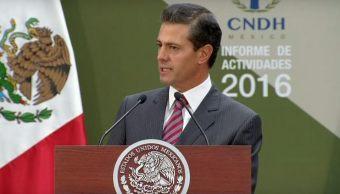 El presidente Peña Nieto participa en el Informe Anual de Actividades 2016 de la Comisión Nacional de los Derechos Humanos. (Presidencia de la República)
