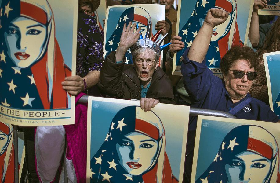Protestas del 19 de febrero de 2017, en Times Square, Nueva York, en contra del veto migratorio de Trump. (AP, archivo)