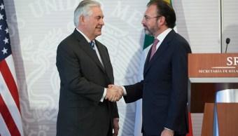 El secretario de Relaciones Exteriores, Luis Videgaray, en su reunión con el secretario de Estado de Estados Unidos, Rex Tillerson. (Getty Images)