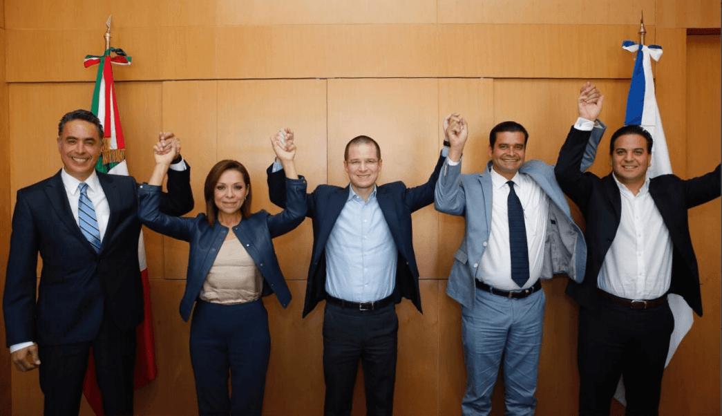 Ricardo Anaya, presidente del PAN, acompañado de candidatos a gubernaturas en Estado de México, Nayarit y Coahuila. (@RicardoAnayaC)