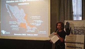 """La presidenta de la organización """"Alto al Secuestro"""", Isabel Miranda de Wallace, informó que los secuestros en México disminuyeron durante el pasado mes de febrero. (@soybretonmora)"""