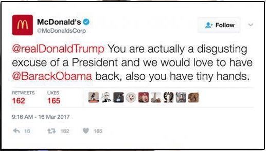 twitter mcdonalds trump hackean cuenta critica