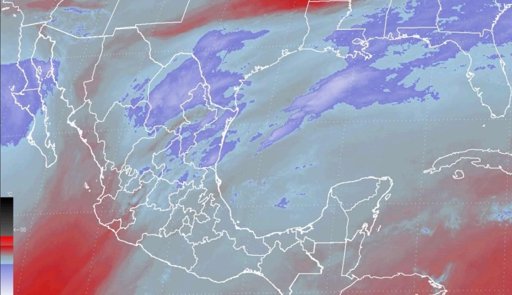 Mapa del vapor de agua sobre México; lluvia y fuerte viento afectarán la mayor parte del país (Conagua)