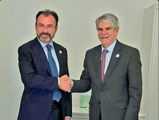 Alfonso Dastis, ministro de Relaciones Exteriores de España, se reúne con el canciller mexicano Luis Videgaray, durante la cumbre de ministros del G20 en Bonn el 21 de febrero (Twitter @AlfonsoDastisQ)