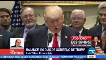luis tellez, balance, 100 dias de trump, trump, a las tres, televisa news
