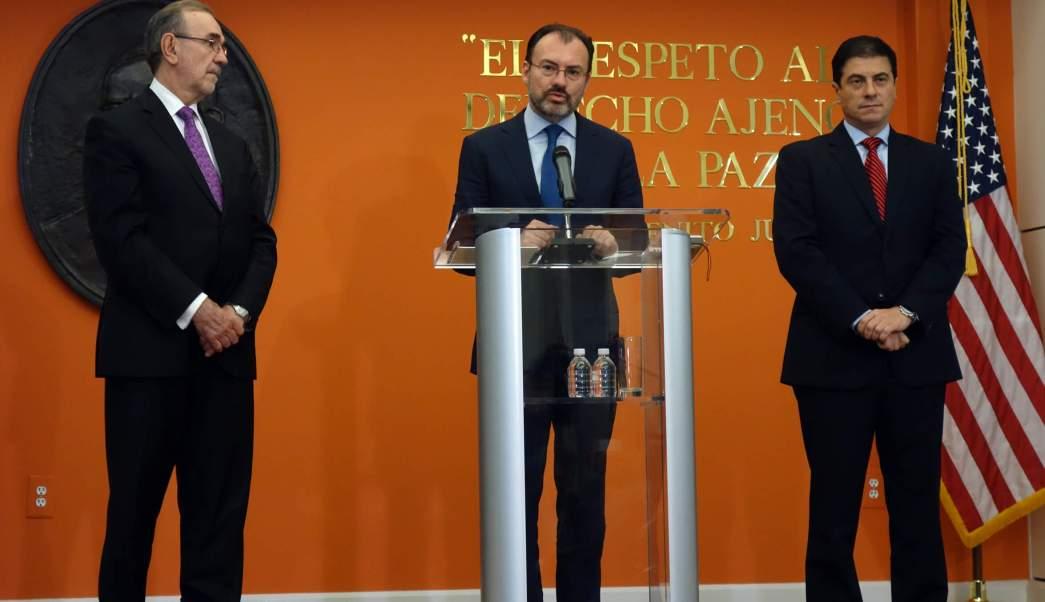 Conferencia del canciller Luis Videgaray desde la Embajada de México en Estados Unidos. (Notimex)