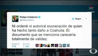 """Felipe Calderón, aseguró que la declaración de López Obrador era """"falsa y calumniosa"""". (Noticieros Televisa)"""