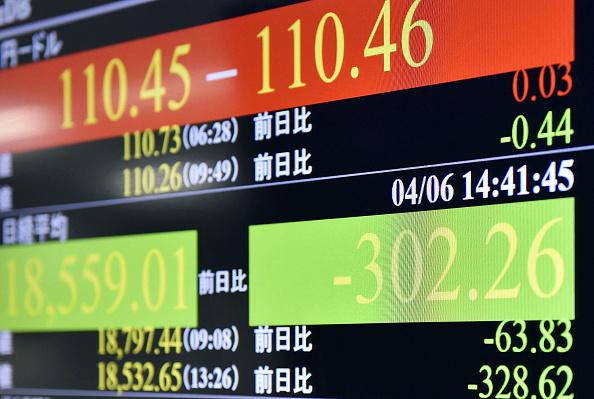 Tablero electrónico con resultados de la Bolsa de Tokio. (Getty Images)